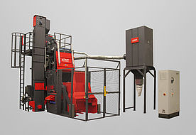 Tumble belt blast machine RMBC 2.1 for processing bulk material for automatic parts handling